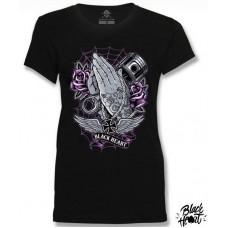 T-shirt Black Heart  ladies  Hands