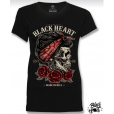 T-shirt Black Heart  ladies  Made in Hell  est.06