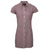 Relco London long dress shirt   Gingham Burgundy