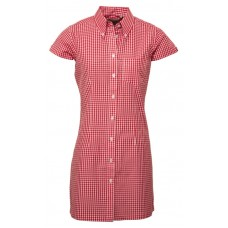 Relco London long dress shirt   Gingham Red