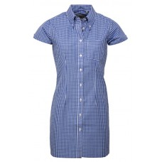 Relco London long dress shirt   Gingham Blue