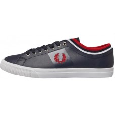 Fred Perry Mens Underspin Tipped Cuff Leather Trainers Navy