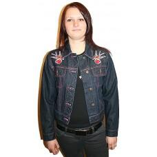 džínová bunda  - srdce a vlaštovky