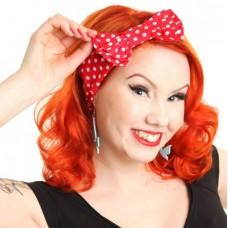 čelenka s mašlí do vlasů - červená