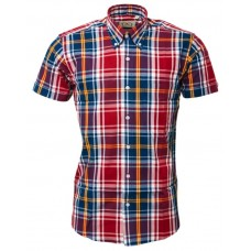 Relco London Burgundy & Navy check  shirt