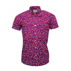 shirt Relco London  Burgundy with Blue and white polka dots