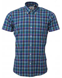 Shirt Relco London short sleeve  Multi Check Blue