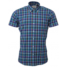 Shirt Relco London short sleeve  Multi Check Blue