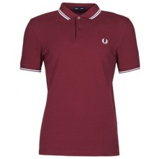 Fred Perry Mens Bold Stripe Polo Shirt Dark Red