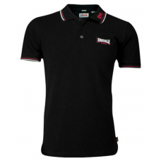 Men's Slim Fit Polo Shirt Lonsdale Lion Black/Dark Red/White