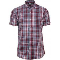 košile Relco burgundy blue