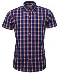 Relco London shirt   Blue & Orange & White