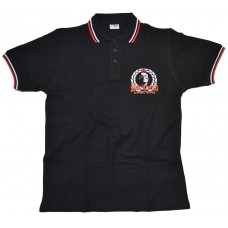 Poloshirt Skinhead proud & strong  black / red white lining