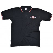 Poloshirt Skinhead  black / red white lining