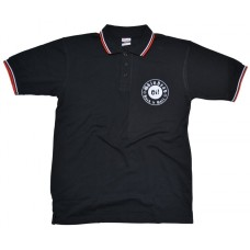 Poloshirt Skinhead Oi!  Rock'n'Roll  black / red white lining