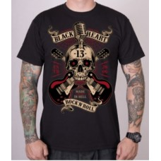 T-shirt BLACK HEART  ROCK N ROLL